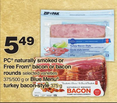 PC Naturally Smoked Or Free From Bacon Or Bacon Rounds - 375/500 G Or Blue Menu Turkey Bacon-style - 375g