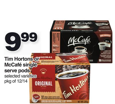 Tim Hortons Or Mccafé Single Serve PODS