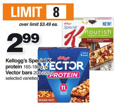Kellogg's Special K Protein 165-180 G Or Vector Bars 200-220 G