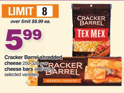 Cracker Barrel Shredded Cheese 250-320 g Or Cheese Bars 400/460 g