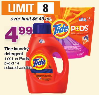 Tide Laundry Detergent 1.09 L Or PODS Pkg Of 14