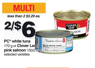 PC White Tuna 170 g Or Clover Leaf Pink Salmon 150/213 g