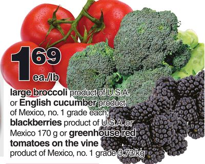 Large Broccoli - English Cucumber - Blackberries - Greenhouse Red Tomatoes On The Vine