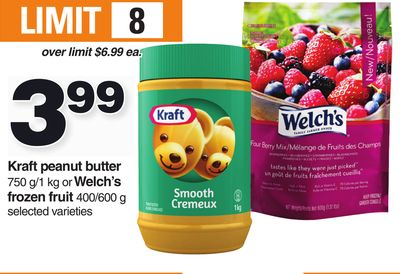 Kraft Peanut Butter 750 G/1 Kg Or Welch's Frozen Fruit 400/600 g