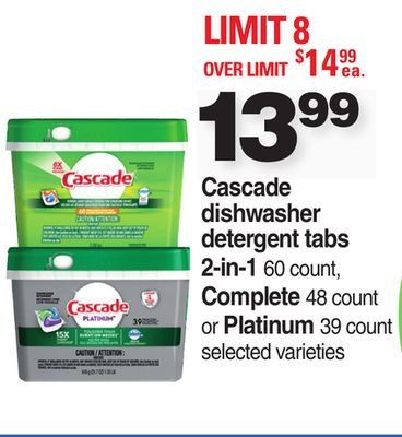 Cascade Dishwasher Detergent Tabs 2-in-1 - 60 Count - Complete - 48 Count Or Platinum - 39 Count