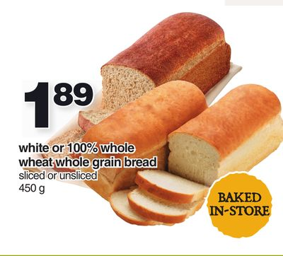 White Or 100% Whole Wheat Whole Grain Bread - 450 G