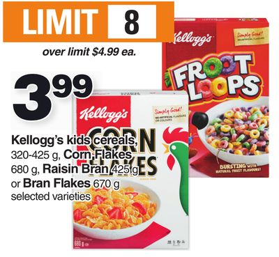 Kellogg's Kids Cereals - 320-425 G - Corn Flakes 680 G - Raisin Bran 425 G Or Bran Flakes 670 G