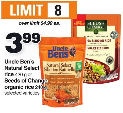 Uncle Ben's Natural Select Rice 420 G Or Seeds Of Change Organic Rice 240 G