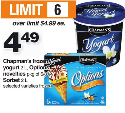Chapman's Frozen Yogurt 2 L - Options Novelties Pkg Of 6/8 Or Sorbet 2 L