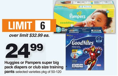 Huggies Or Pampers Super Big Pack Diapers Or Club Size Training Pants - Pkg Of 50-120
