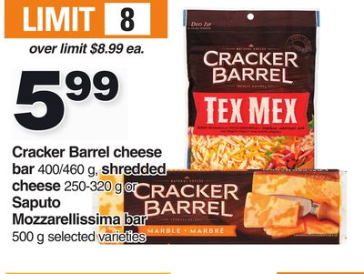 Cracker Barrel Cheese Bar 400/460 G - Shredded Cheese 250-320 G Or Saputo Mozzarellissima Bar 500 G