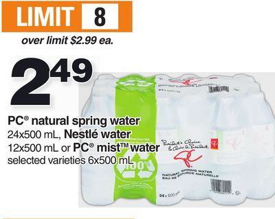 PC Natural Spring Water 24x500 Ml - Nestlé Water 12x500 Ml Or PC Mist Water 6x500 Ml