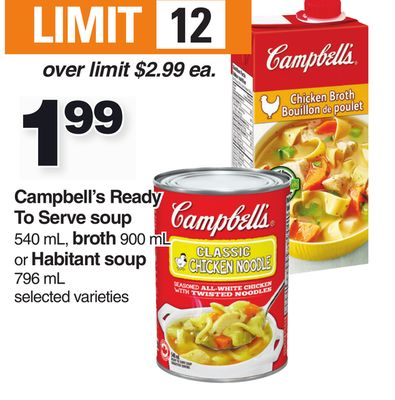 Campbell's Ready To Serve Soup 540 Ml - Broth 900 Ml Or Habitant Soup 796 Ml