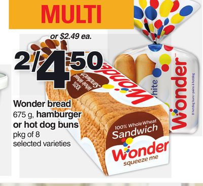 Wonder Bread 675 G - Hamburger Or Hot Dog Buns Pkg Of 8