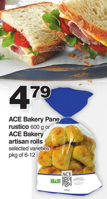 Ace Bakery Pane Rustico 600 g Or Ace Bakery Artisan Rolls - Pkg of 6-12