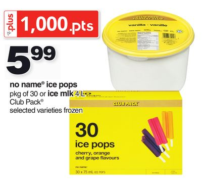 No Name Ice Pops Pkg Of 30 Or Ice Mlk 4 L Club Pack