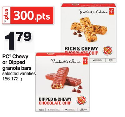 PC Chewy Or Dipped Granola Bars - 156-172 g