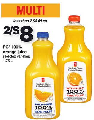 PC 100% Orange Juice - 1.75 L