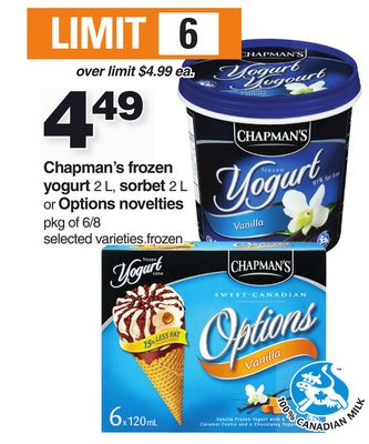 Chapman's Frozen Yogurt 2 L - Sorbet 2 L Or Options Novelties - Pkg of 6/8