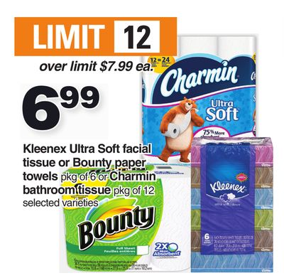 Kleenex Ultra Soft Facial Tissue Or Bounty Paper Towels Pkg Of 6 Or Charmin Bathroom Tissue Pkg Of 12
