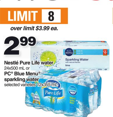 Nestlé Pure Life Water 24x500 Ml Or PC Blue Menu Sparkling Water - 12x355 mL