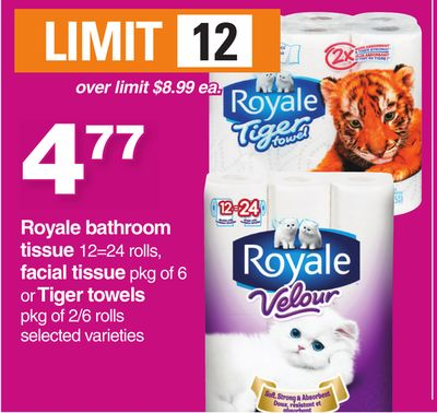 Royale Bathroom Tissue 12=24 Rolls - Facial Tissue Pkg Of 6 Or Tiger Towels Pkg Of 2/6 Rolls