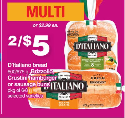 D'italiano Bread 600/675 G - Brizzolio - Crustini Hamburger Or Sausage Buns