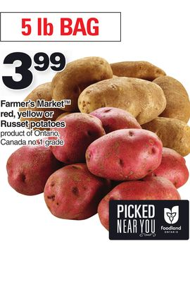 Farmer's Market Red - Yellow Or Russet Potatoes - 5 Lb Bag