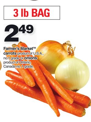 Farmer's Market Carrots Or Onions - 3 Lb Bag