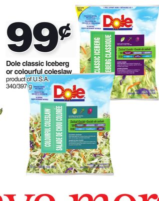 Dole Classic Iceberg Or Colourful Coleslaw 340/397 G