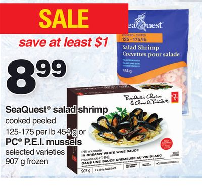 Seaquest Salad Shrimp 125-175 Per Lb 454 G Or PC P.e.i. Mussels 907 G Frozen
