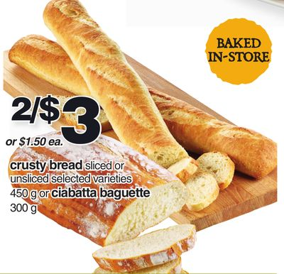 Crusty Bread 450 G Or Ciabatta Baguette 300 G
