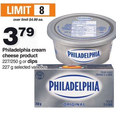 Philadelphia Cream Cheese Product 227/250 G Or Dips