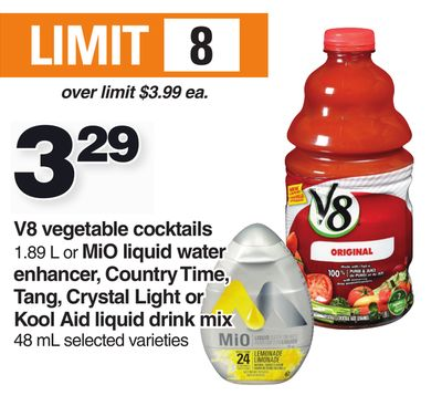 V8 Vegetable Cocktails 1.89 L Or Mio Liquid Water Enhancer - Country Time - Tang - Crystal Light Or Kool Aid Liquid Drink Mix 48 Ml