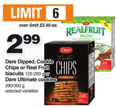 Dare Dipped - Cookie Chips Or Real Fruit Biscuits 125-250 G Or Dare Ultimate Cookies 290/300 G