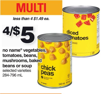 No Name Vegetables - Tomatoes - Beans - Mushrooms - Baked Beans Or Soup - 284-796 Ml