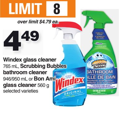 Windex Glass Cleaner 765 Ml - Scrubbing Bubbles Bathroom Cleaner 946/950 Ml Or Bon Ami Glass Cleaner 560 G