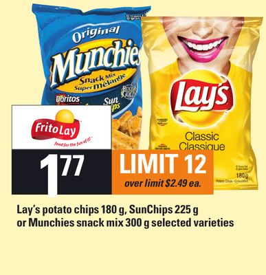 Lay's Potato Chips 180 G - Sunchips 225 G Or Munchies Snack Mix 300 G