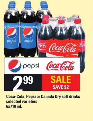 Coca-cola - Pepsi Or Canada Dry Soft Drinks - 6x710 Ml