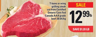 T-bone Or Wing Grilling Steak Cut From Certified Ontario Corn Fed Canada Aaa Grade Beef