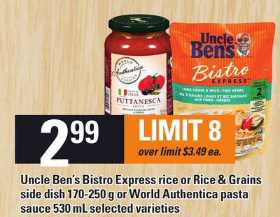 Uncle Ben's Bistro Express Rice Or Rice & Grains Side Dish 170-250 G Or World Authentica Pasta Sauce 530 Ml