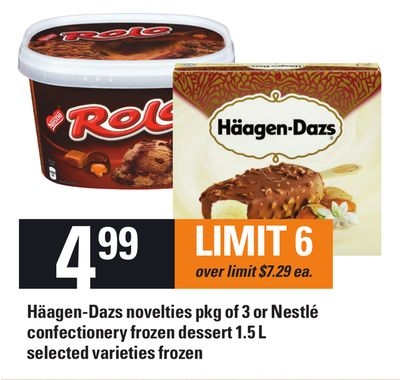 Häagen-dazs Novelties Pkg Of 3 Or Nestlé Confectionery Frozen Dessert 1.5 L