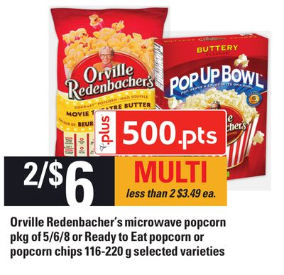 Orville Redenbacher's Microwave Popcorn Pkg Of 5/6/8 Or Ready To Eat Popcorn Or Popcorn Chips 116-220 g