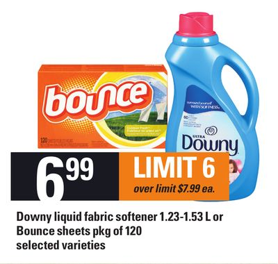 Downy Liquid Fabric Softener - 1.23-1.53 L Or Bounce Sheets - Pkg Of 120