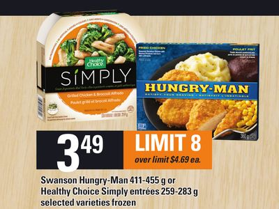 Swanson Hungry-man 411-455 g Or Healthy Choice Simply Entrées 259-283 g