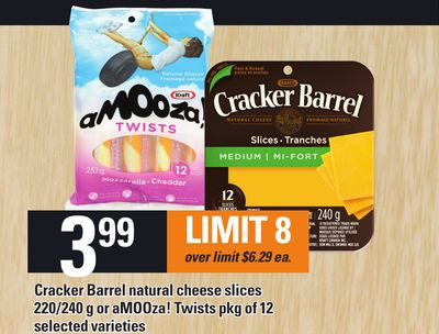 Cracker Barrel Natural Cheese Slices 220/240 g Or Amooza! Twists