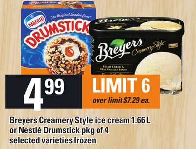 Breyers Creamery Style Ice Cream 1.66 L Or Nestlé Drumstick Pkg Of 4