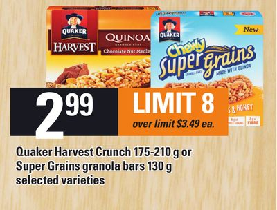 Quaker Harvest Crunch 175-210 g Or Super Grains Granola Bars 130 g