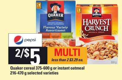 Quaker Cereal 375-600 G Or Instant Oatmeal - 216-470 g