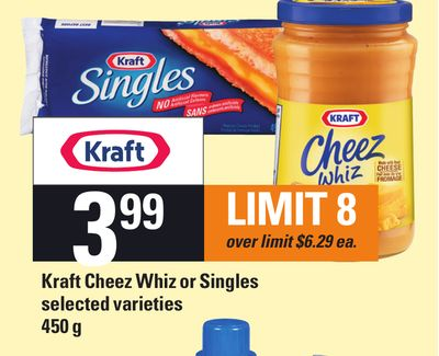 Kraft Cheez Whiz Or Singles - 450 g